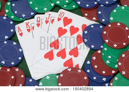 Playing Cads Arranged As A Straight Flush