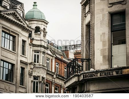 Regent Street, street name sign in London, England