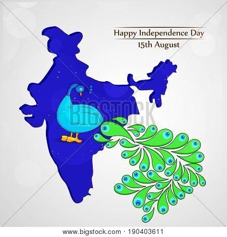 illustration of Peacock on India map background with happy independence day 15th August text on the occasion of india independence day