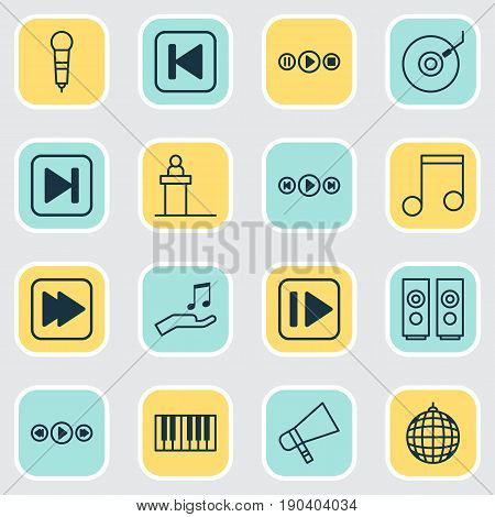 Audio Icons Set. Collection Of Dance Club, Gramophone, Piano And Other Elements. Also Includes Symbols Such As Rewind, Party, Microphone.