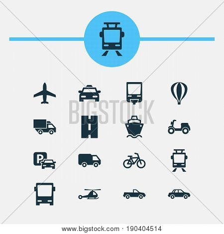 Shipment Icons Set. Collection Of Automobile, Way, Chopper And Other Elements. Also Includes Symbols Such As Trolley, Camion, Van.