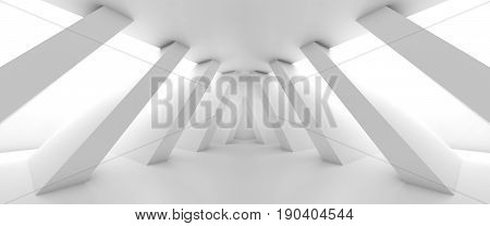Abstract Empty Room With Diagonal Columns 3 D