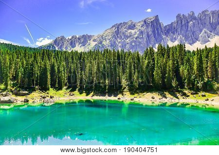 Blue Lake of Italy in the mountains Valtournenche - Aosta Valley