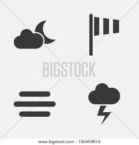 Weather Icons Set. Collection Of Haze, Moonlight, Flag And Other Elements. Also Includes Symbols Such As Vane, Weather, Flash.
