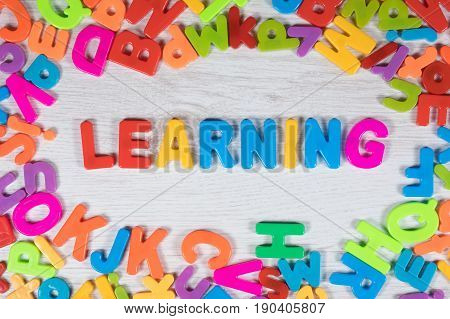Bright Colorful Learning Text With The Alphabet