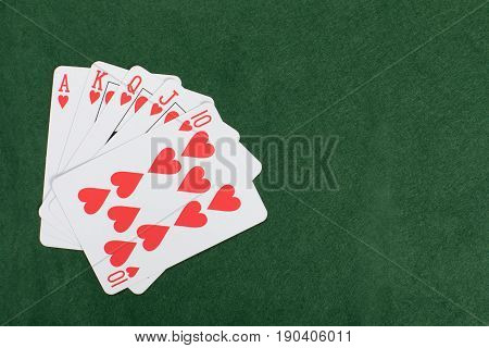 Gambling And Poker Concept With Straight Flush
