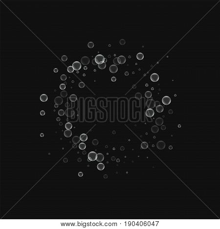 Soap Bubbles. Small Circle Frame With Soap Bubbles On Black Background. Vector Illustration.