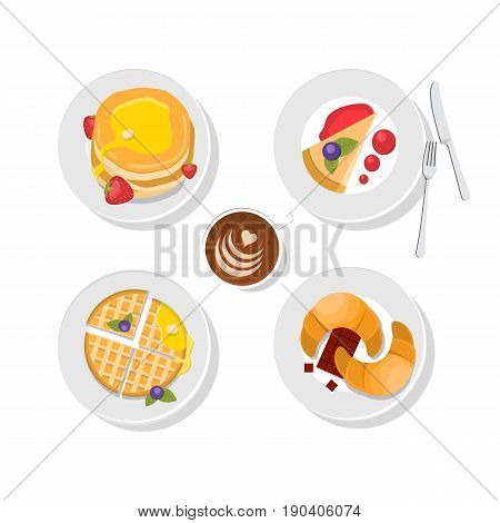 Sweet delicious - waffles, chocolate, pancakes and coffee cup. Vector. Breakfast food. Tasty icon set. Isolated. Top wiev