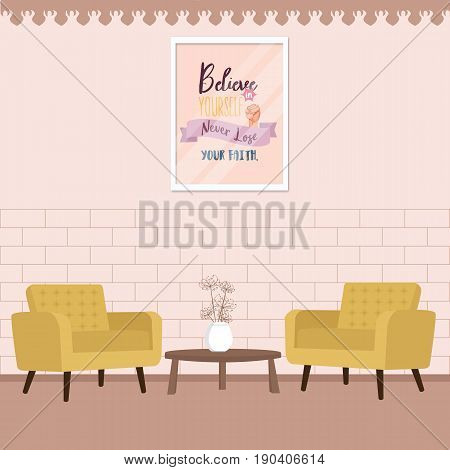 two chair with table in living room comfort interior vector