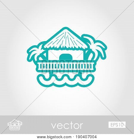 Bungalow with palm trees outline vector icon. Beach. Summer. Summertime. Holiday. Vacation eps 10