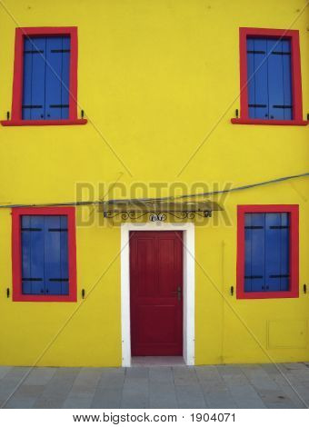Yellow House On Island Of Burano, Venice