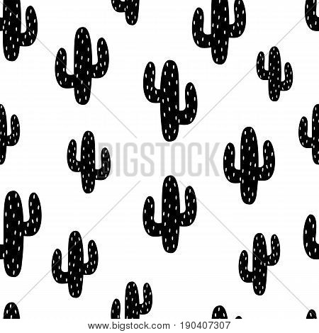 Cactus. Seamless pattern. Vector. Concept of dotted black cactuses on white background. Cactus pattern vector background. Fabric print, eps10.