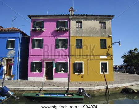 Homes On The Island Of Burano, Venice