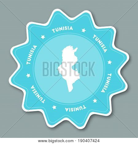 Tunisia Map Sticker In Trendy Colors. Star Shaped Travel Sticker With Country Name And Map. Can Be U