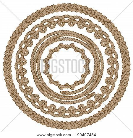 Set of round monochrome rope frames with loops and tassels. Vector image isolated on white