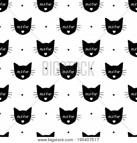 Seamless pattern with black cats. Vector, eps10. Fabric print.Repeating wallpaper. Textile design. Meow and cat head. Cute background with cats.