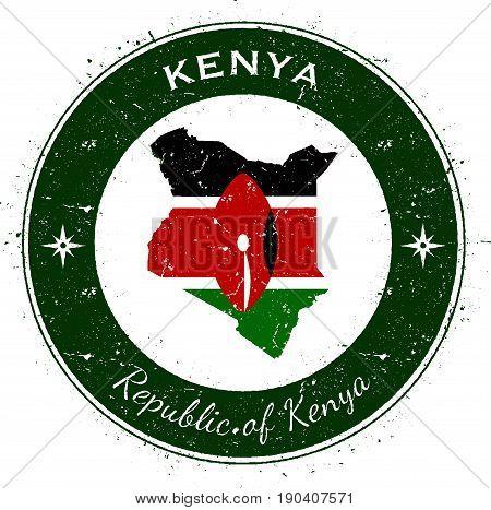 Kenya Circular Patriotic Badge. Grunge Rubber Stamp With National Flag, Map And The Kenya Written Al