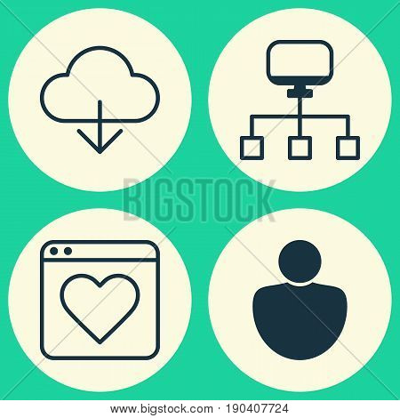 Web Icons Set. Collection Of Human, Followed Website, Local Connection And Other Elements. Also Includes Symbols Such As Person, Bookmark, Computer.