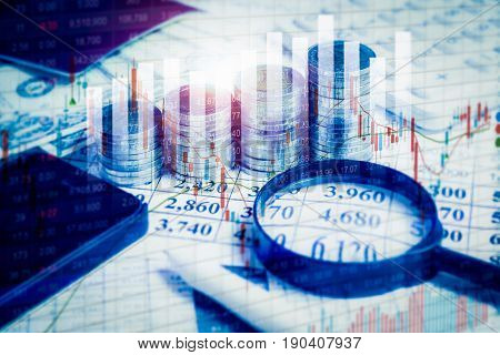 Double Exposure Financial Stock Market In Accounting Market Economy Analysis.