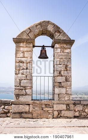 Closeup Of Bell On Palamidi Medieval Fortress, Nafplio, Greece