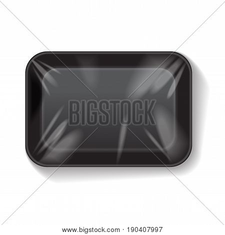 Black Rectangle Blank Styrofoam Plastic Food Tray Container. Vector Mock Up Template for your design
