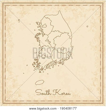 South Korea Region Map: Stilyzed Old Pirate Parchment Imitation. Detailed Map Of South Korea Regions