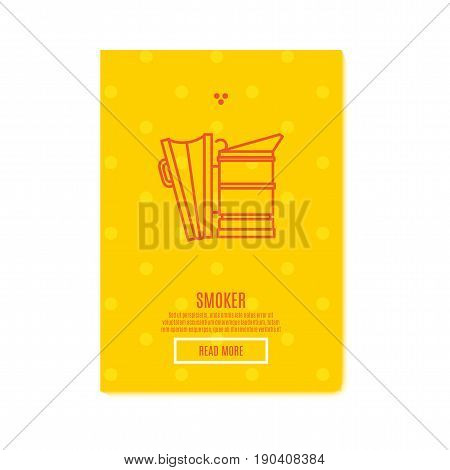 Sunny smoker Banner honey product. Juicy colors, linear icons with bees, honeycombs, apiculture devices, for advertising apitherapy products, beekeeping, cosmetic preparations, creams, soaps medicines