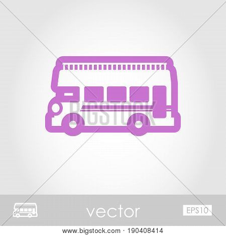 Double decker open top sightseeing and city bus outline vector icon. Summer. Summertime. Holiday. Vacation eps 10