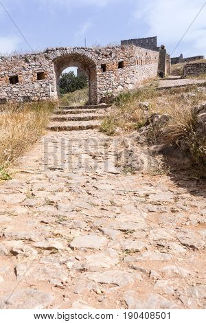 Stone Gate And Road, Palamidi Medieval Fortress  Nafplio, Greece