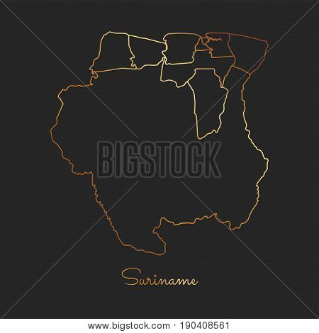 Suriname Region Map: Golden Gradient Outline On Dark Background. Detailed Map Of Suriname Regions. V