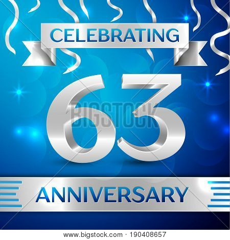 Sixty three Years Anniversary Celebration Design. Confetti and silver ribbon on blue background. Colorful Vector template elements for your birthday party. Anniversary ribbon