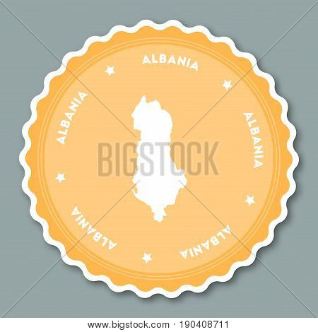 Albania Sticker Flat Design. Round Flat Style Badges Of Trendy Colors With Country Map And Name. Cou