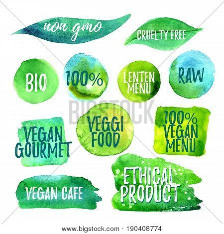 Veggi food green label of lenten menu, natural, cluelty free, gluten free, raw, eco. Badges for vegan restaurant, cafe menu, product packaging. Hand drawn vector templates.