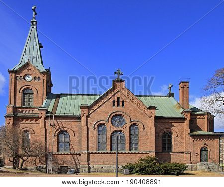 Lutheran cathedral in Jyvaskyla Finland in a sunny spring day