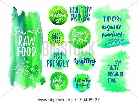 Veggi food green label of 100 organic, natural, farm fresh, gluten free, raw, eco. Badges for vegan restaurant, cafe menu, product packaging. Hand drawn vector templates.
