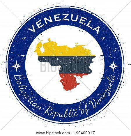 Venezuela, Bolivarian Republic Of Circular Patriotic Badge. Grunge Rubber Stamp With National Flag,