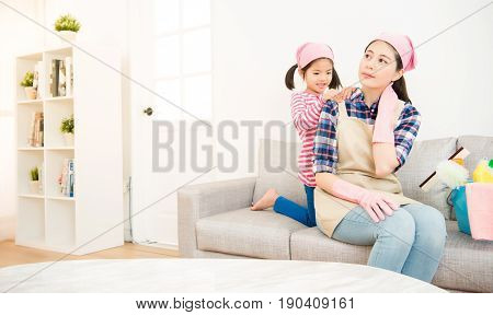 Kids Girl Helping Tired Mother Massage