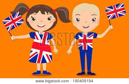 Smiling children, boy and girl, holding a Great Britain flag isolated on orange background. Cartoon mascot. Holiday illustration to the Day of the country, Independence Day, Flag Day.