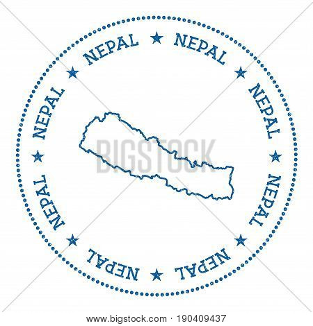 Nepal Vector Map Sticker. Hipster And Retro Style Badge With Nepal Map. Minimalistic Insignia With R