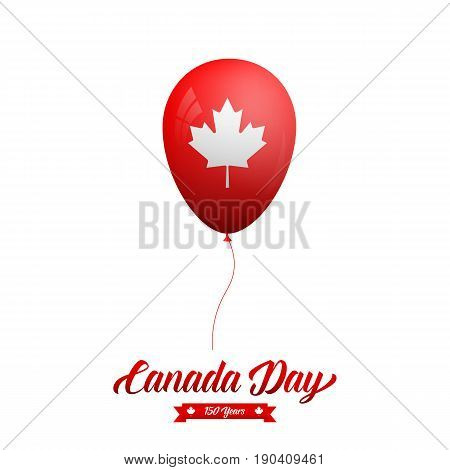 Canada Day. Glossy balloon with Canadian Maple Leaf and typography.