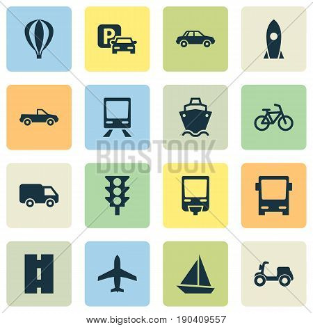 Transportation Icons Set. Collection Of Airship, Omnibus, Yacht And Other Elements. Also Includes Symbols Such As Scooter, Auto, Pickup.