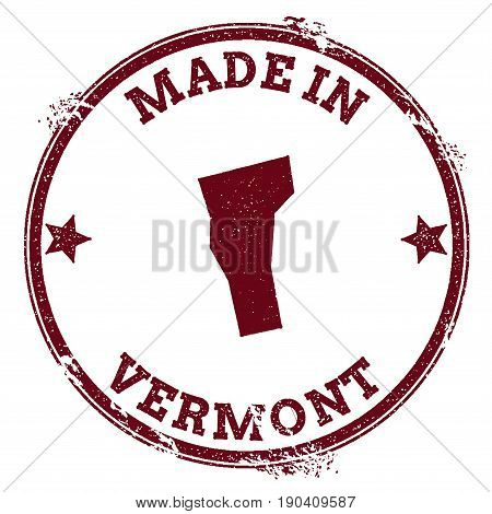 Vermont Vector Seal. Vintage Usa State Map Stamp. Grunge Rubber Stamp With Made In Vermont Text And