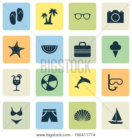 Sun Icons Set. Collection Of Bikini, Sorbet, Video And Other Elements. Also Includes Symbols Such As Suitcase, Photo, Valise.