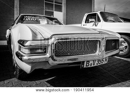 PAAREN IM GLIEN GERMANY - JUNE 03 2017: Full-size personal luxury car Oldsmobile Toronado 1968. Black and white. Exhibition