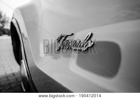 PAAREN IM GLIEN GERMANY - JUNE 03 2017: Detail of a full-size personal car Oldsmobile Toronado 1968. Black and white. Exhibition