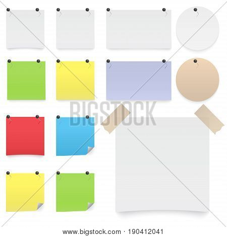 Colorfull and white stickers square. Blank colorful sticky notes set