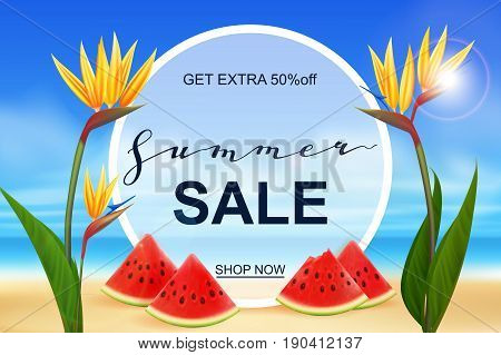 Summer sale banner design template. Seasonal discount advertisement on blury beach with fresh watermelon pieces and Strelitzia exotic flowers. Vector illustration