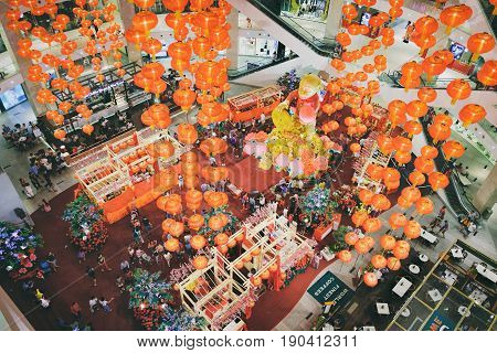 Kuala Lumpur, Malaysia - February 8, 2016: View of Chinese New Year decoration in the Suria KLCC shopping mall to celebrate upcoming Chinese New Year celebration.