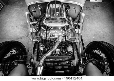 PAAREN IM GLIEN GERMANY - JUNE 03 2017: Detail of the Hot Rod Coupe Ford Model A 1931. Black and white. Exhibition