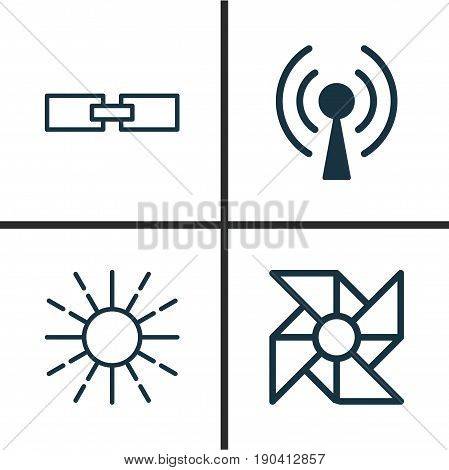 Learning Icons Set. Collection Of Laptop Ventilator, Lightness Mode, Related Information And Other Elements. Also Includes Symbols Such As Wireless, Wi-Fi, Data.